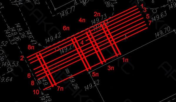 Расположение георадиолокационных профилей на участке №1