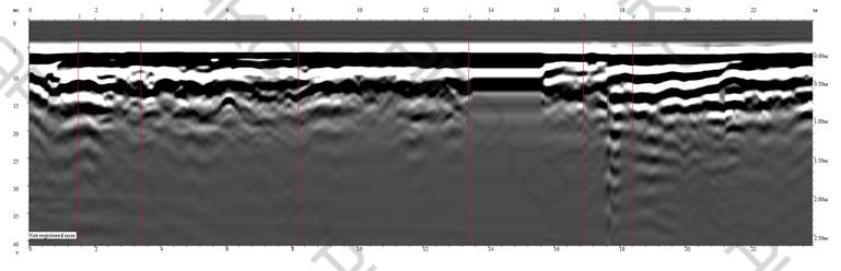 Георадиолокационный профиль не отмечает воздушных полостей при удалении от колодца