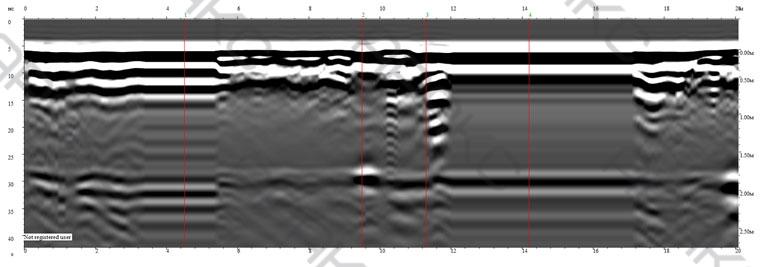 Георадиолокационный Профиль 5. Длина 20 метров