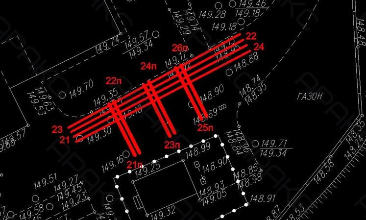 Расположение георадиолокационных профилей на участке №2