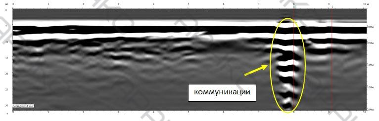 Подземные коммуникации на радарограмме