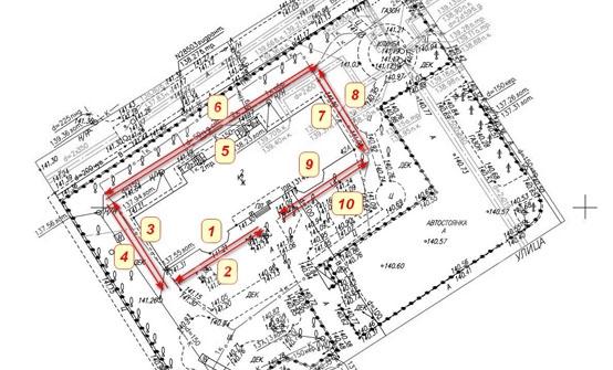 Расположение георадиолокационных профилей вокруг здания