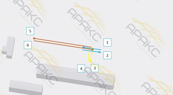 Расположение георадиолокационных профилей на местности