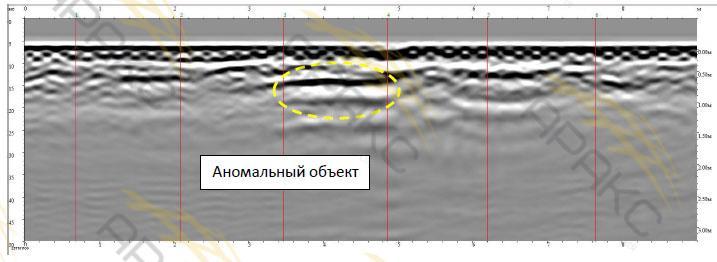 Аномальный объект на георадарном профиле №16