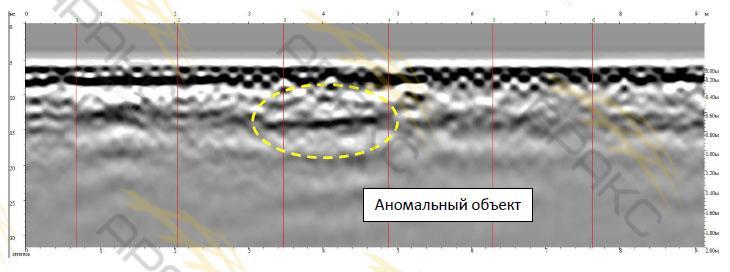 Аномальный объект на георадарном профиле №20