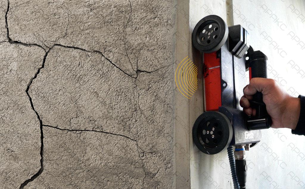 Обследование стены для установления причин возникновения трещин с помощью георадара
