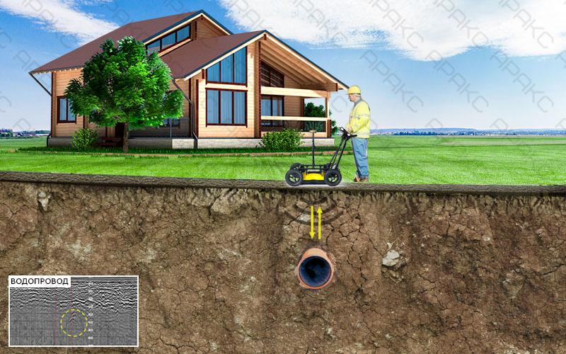 Поиск водопровода с помощью георадара