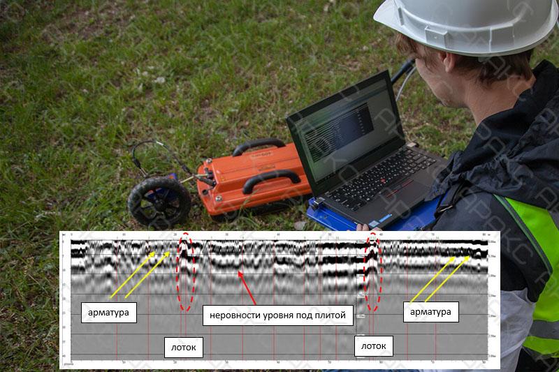 Специалист проводит обработку радарограммы
