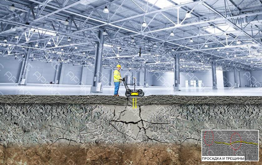 Поиск трещин и пустот в бетонной плите пола с помощью георадара