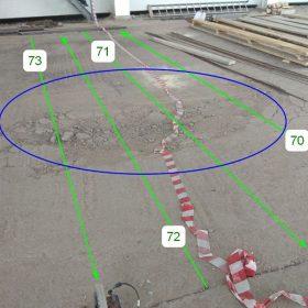 Положение георадиолокационного профиля ГРЛП №70 - 73