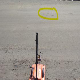 Рис. 3.5. Прохождение георадиолокационного профиля. ГРЛП №1п (желтым отмечена зона отбора керна)