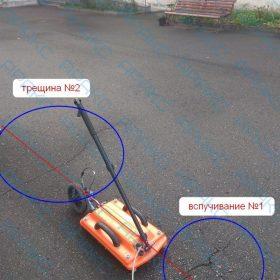 Рис. 3.8. Положение георадиолокационного профиля (ГРЛП) №6 с указанием положения нарушений (синим)