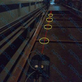 Рис. 3.11. Участок проведения обследования с дальней удлиненной стороны ванны №1 с положением профиля сканирования №35 (желтым выделены металлоконструкции, источники помех)
