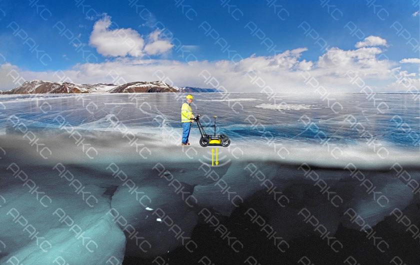 Измерение толщины льды с помощью георадара